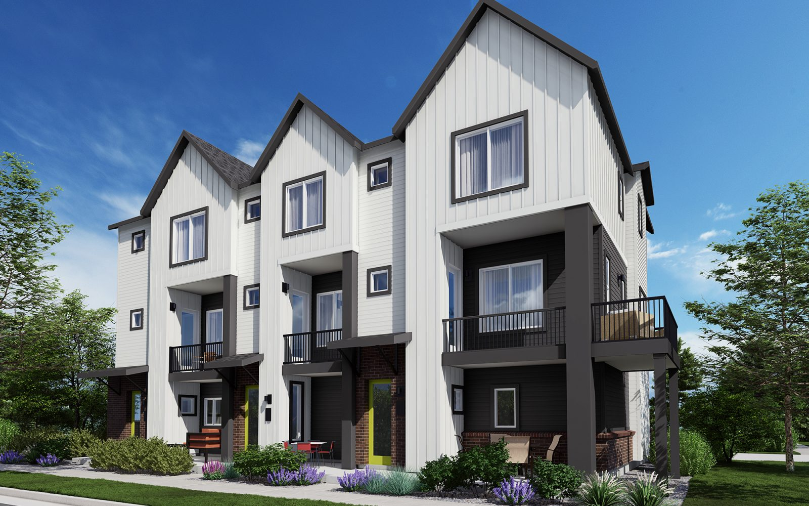 Downtown Superior 3-Story Rows: Exterior Rendering